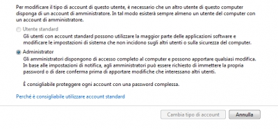 Cambiare Tipo di Account in Windows