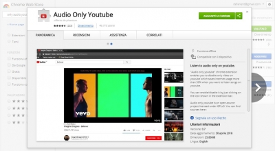 Come ascoltare solo audio su Youtube