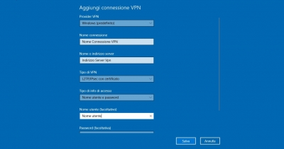 Come configurare una Vpn su Windows 10